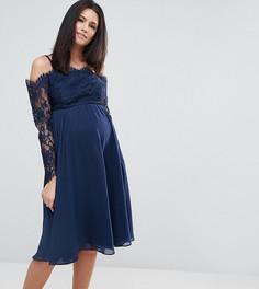 Кружевное платье миди с вырезами на плечах ASOS Maternity Occasion - Темно-синий