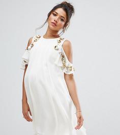 Платье мини с вырезами на плечах ASOS Maternity - Кремовый