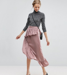 Атласная юбка миди ASOS TALL - Розовый