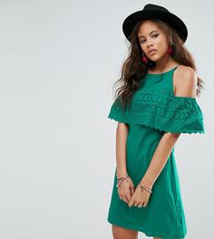 Легкое платье с вышивкой ришелье и открытыми плечами ASOS TALL - Зеленый