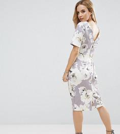 Строгое платье с V-образным вырезом на спине и цветочным принтом ASOS PETITE - Серый