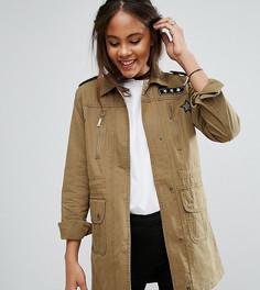 Куртка в стиле милитари с нашивками Brave Soul Tall - Зеленый