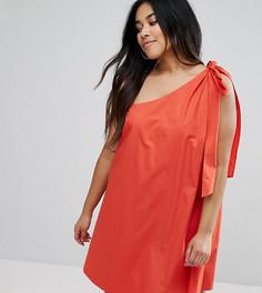 Легкое платье с бантом ASOS CURVE - Красный