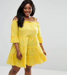 Легкое ярусное платье с открытыми плечами ASOS CURVE - Желтый