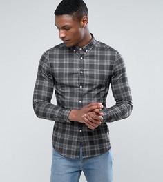 Черная джинсовая рубашка скинни в клетку ASOS TALL - Черный