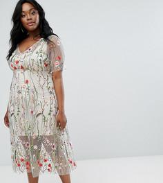 Платье с цветочной вышивкой Elvi - Мульти
