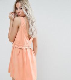 Платье с затягивающимся шнурком и пуговицами на спине Noisy May Petite - Оранжевый