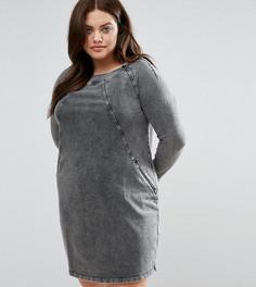 Джинсовое платье-футляр с молнией и эффектом кислотной стирки Junarose - Серый