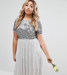 Платье миди с юбкой из тюля и цветочной отделкой Lovedrobe Luxe - Серый