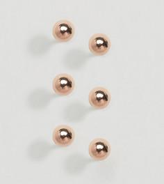 3 пары серебряных шарообразных серег-гвоздиков с позолотой ASOS - Медный