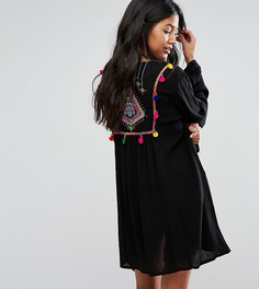 Пляжное кимоно с вышивкой на спине Akasa - Черный