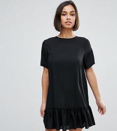Цельнокройное платье мини с баской по краю ASOS PETITE - Черный