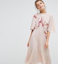 Платье миди с расклешенными рукавами и вышивкой Hope & Ivy - Оранжевый
