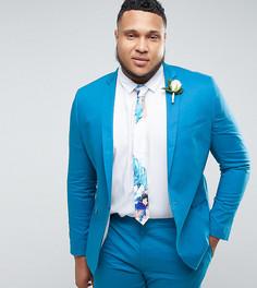 Облегающий синий пиджак из эластичной хлопковой ткани ASOS PLUS - Синий