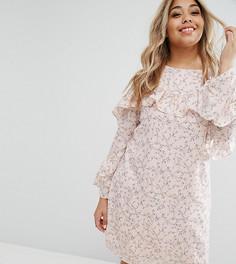 Чайное платье с оборкой Alice & You - Розовый