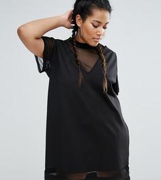 Цельнокройное платье 2 в 1 с сетчатыми вставками One One Three - Черный