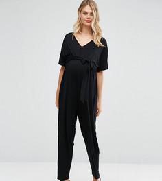 Комбинезон для беременных с рукавами-кимоно и ремнем ASOS Maternity - Черный