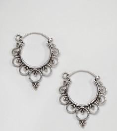 Серебряные серьги-кольца с орнаментом Kingsley Ryan - Серебряный