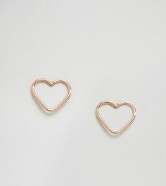 Серьги-гвоздики в виде сердечек с вырезами Kingsley Ryan - Золотой