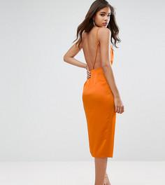 Платье миди с драпировкой спереди и открытой спиной ASOS TALL - Оранжевый
