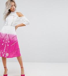 Платье в викторианском стиле с отделкой помпонами и кружевом ASOS PETITE PREMIUM - Розовый