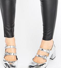 Блестящие туфли на каблуке для широкой стопы New Look - Серебряный