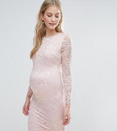 Кружевное облегающее платье Queen Bee - Розовый