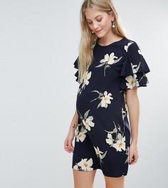 Цельнокройное платье с цветочным принтом Queen Bee - Темно-синий