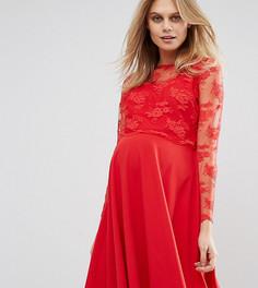 Свободное платье миди с кружевной отделкой Queen Bee - Красный