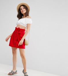 Льняная мини-юбка на пуговицах ASOS PETITE - Красный