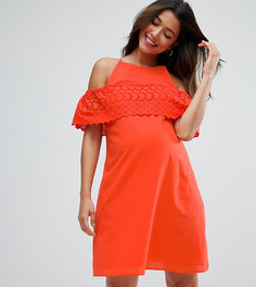 Сарафан с открытыми плечами и вышивкой ришелье ASOS Maternity - Красный