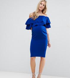 Платье с открытыми плечами и широкими оборками ASOS Maternity - Синий