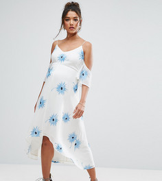 Платье миди с открытыми плечами, вышивкой и асимметричным подолом ASOS Maternity - Белый