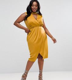 Платье миди с чокером и драпировкой спереди ASOS CURVE - Желтый