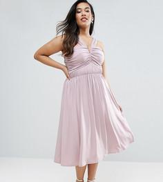 Платье миди с V-образным вырезом и присборенной отделкой ASOS CURVE WEDDING - Фиолетовый