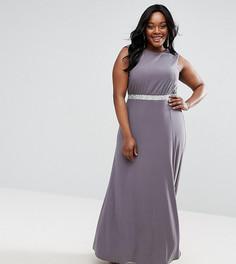 0cb64dbee54 Платье макси с открытой спиной и блестящей отделкой ASOS CURVE - Серый