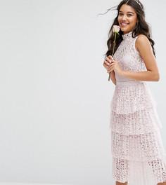 Кружевное платье миди с плиссированной ярусной юбкой Bodyfrock - Розовый