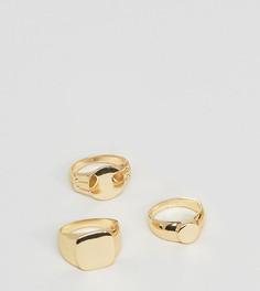 Набор из 3 золотистых колец DesignB London эксклюзивно для ASOS - Серебряный