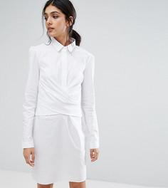 Платье-рубашка с запахом из ткани с добавлением хлопка ASOS TALL - Белый