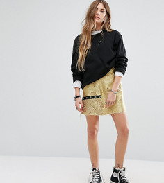 Парчовая мини-юбка с люверсами Reclaimed Vintage - Желтый