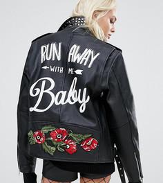Кожаная байкерская куртка с заклепками и принтом на спине Reclaimed Vintage - Черный