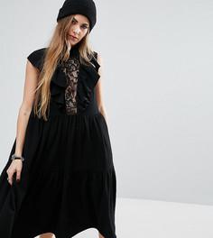 Платье миди с кружевной вставкой и оборками Reclaimed Vintage - Черный