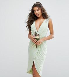 Платье миди с запахом и декоративной отделкой TFNC WEDDING - Зеленый