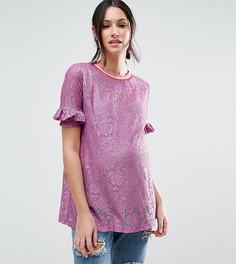 Кружевная футболка с оборками на рукавах и окантовкой в полоску ASOS Maternity - Фиолетовый