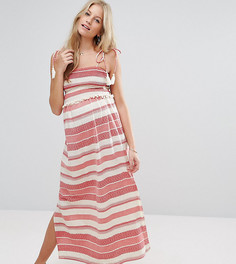 Присборенное платье макси в полоску с помпонами ASOS Maternity - Красный