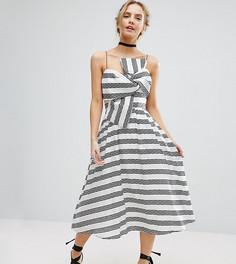 Платье миди в полоску с бантом ASOS PETITE - Белый