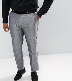 Серебристые брюки слим с леопардовым принтом ASOS PLUS - Серебряный