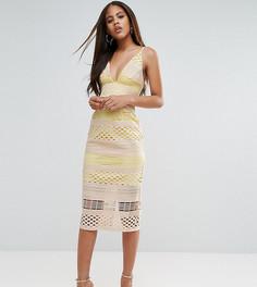 Кружевное платье-футляр миди ASOS TALL Hitchcock - Белый