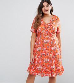 Чайное платье с принтом и оборками Lovedrobe - Красный