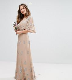 Декорированное платье макси на одно плечо Maya Petite - Розовый